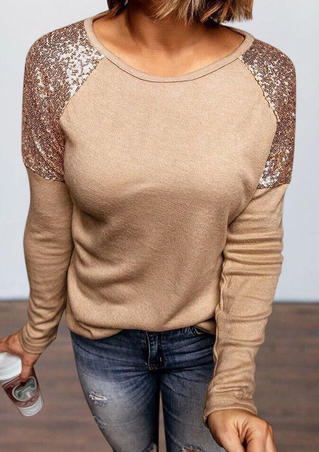 Sequined Splicing O-Neck Long Sleeve Blouse - Khaki