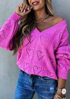 Hollow Out Heart V-Neck Pullover Sweater