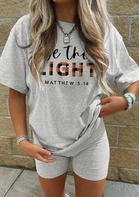 Plaid Be The Light T-Shirt Tee And Shorts Sports Activewear Set