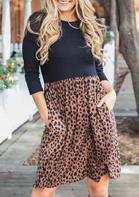 Leopard Splicing Ruffled Pocket Mini Dress