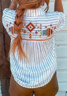Striped Aztec Geometric Arrow Button Long Sleeve Shirt