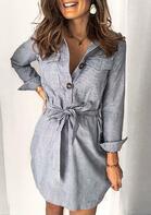 Striped Pocket Tie Turn-Down Collar Mini Dress
