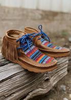 Serape Striped Geometric Tassel Western Flat Boots