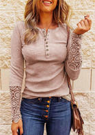 Lace Splicing Hollow Out Button Blouse