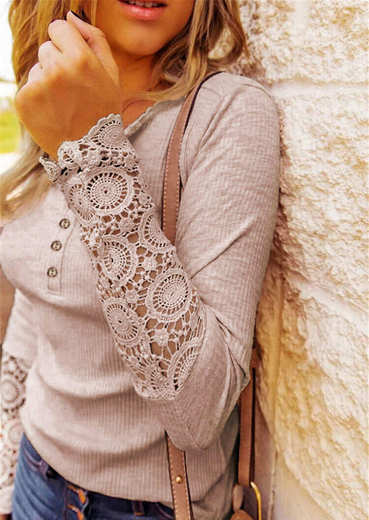Lace Splicing Hollow Out Button Blouse - Pink