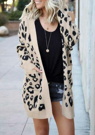 Leopard Pocket Long Sleeve Sweater Cardigan - Apricot