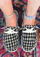 Houndstooth Plaid Lace Up Flat Canvas Sneakers
