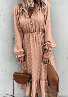 Polka Dot Ruffled Slit Long Sleeve Midi Dress - Flesh