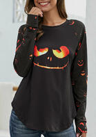 Halloween Pumpkin Face O-Neck Long Sleeve Blouse