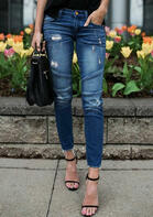 Ripped Hole Pocket Ruffled Denim Jeans