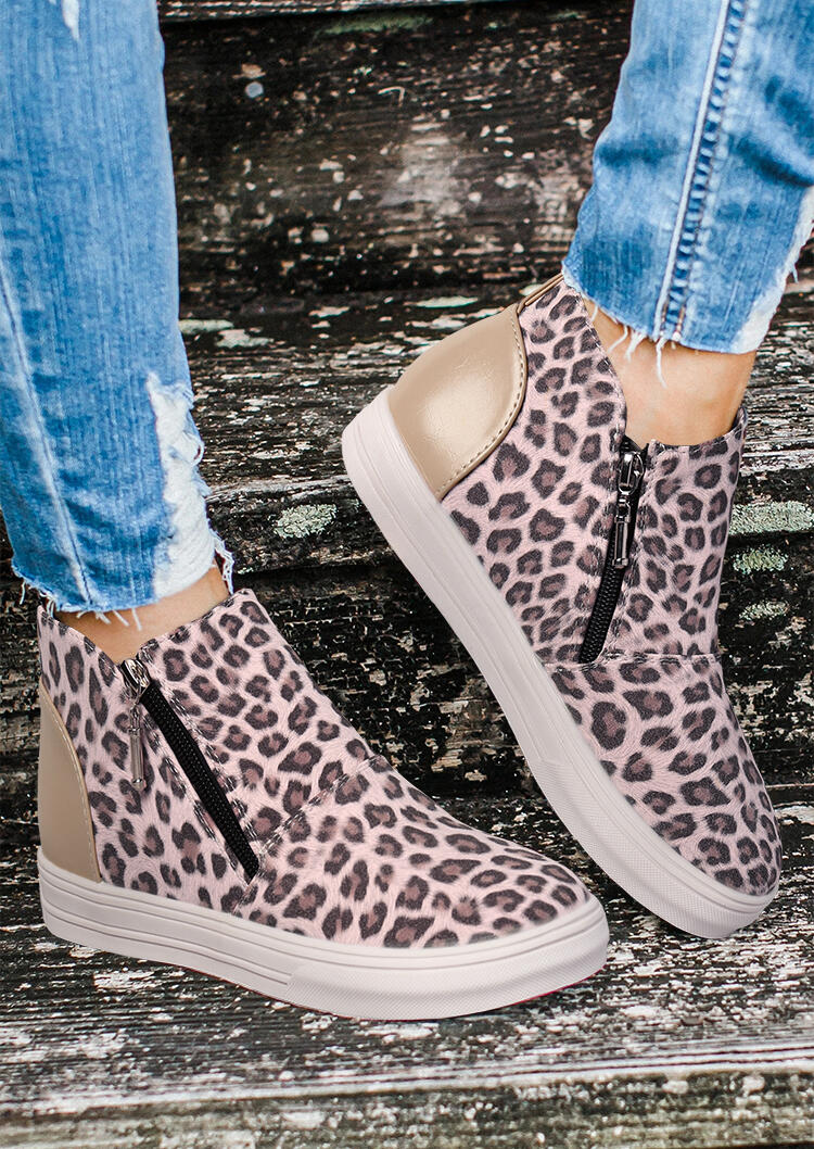 Leopard Splicing Zipper Round Toe Ankle Boots