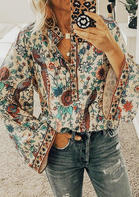 Peacock Floral V-Neck Long Sleeve Blouse