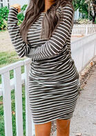 Striped Ruched O-Neck Long Sleeve Bodycon Dress