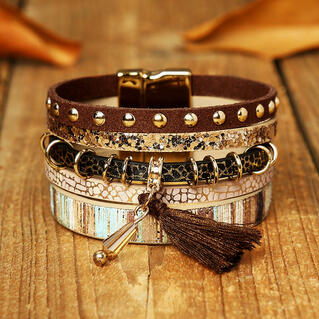 Leopard Tassel Beading Multi-Layered Leather Bracelet