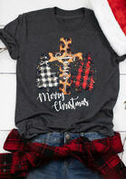 Merry Christmas Jesus Leopard Cross Plaid Tree T-Shirt