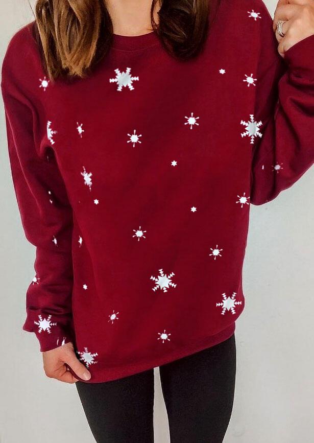 Snowflake Snow Ice Crystal Sweatshirt - Burgundy