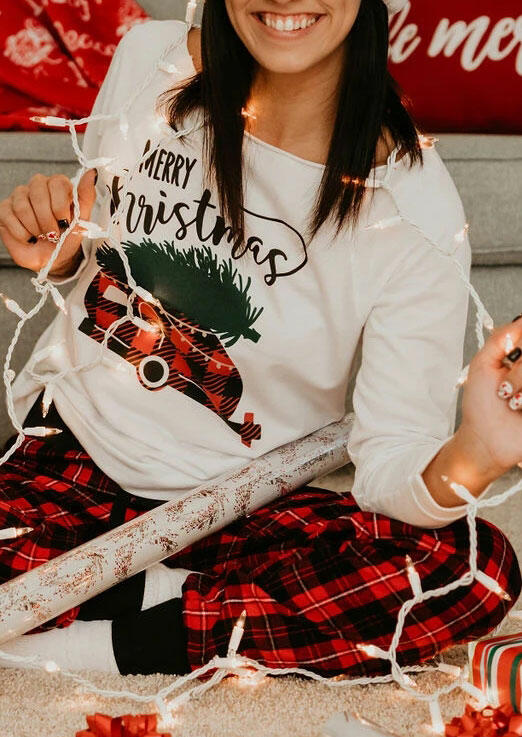 Merry Christmas Plaid Truck Pullover Sweatshirt - White