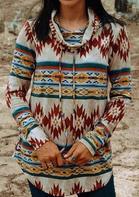 Aztec Geometric Western Cowgirl Drawstring Blouse