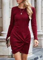 Twist O-Neck Knitted Asymmetric Bodycon Dress