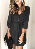 Ruffled Button Elastic Cuff Mini Dress