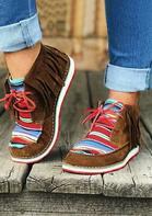 Serape Striped Tassel Splicing Lace Up Flat Sneakers