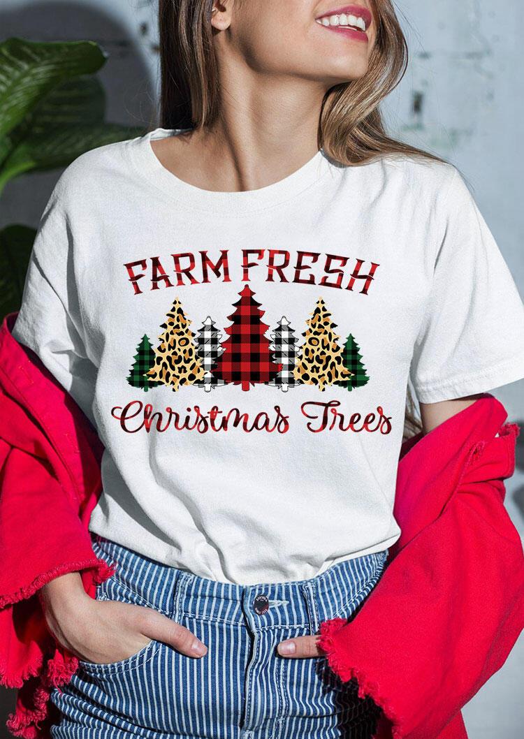 Farm Fresh Christmas Trees Leopard Plaid T-Shirt Tee - White