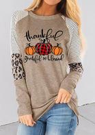 Thankful Striped Leopard Splicing Plaid Pumpkin Blouse - Light Khaki