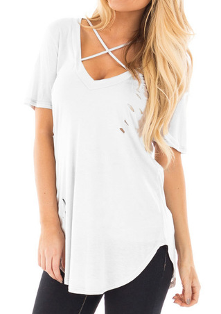 Solid Cross Hole Blouse