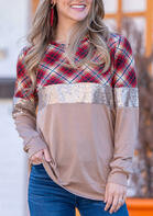Plaid Sequined Splicing Long Sleeve Blouse