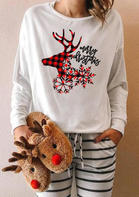 Merry Christmas Buffalo Plaid Reindeer Snowflake T-Shirt
