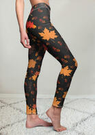Thanksgiving Maple Leaf Elastic Waist Yoga Fitness Leggings