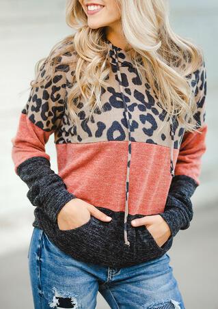Leopard Color Block Drawstring Kangaroo Pocket Hoodie