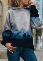 Forest Elk Mountain Trees Graphic Pullover Hoodie