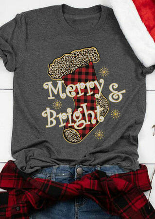 Christmas Plaid Leopard Merry & Bright Sock T-Shirt Tee - Dark Grey