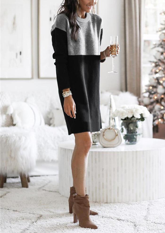 Color Block O-Neck Long Sleeve Mini Dress - Black