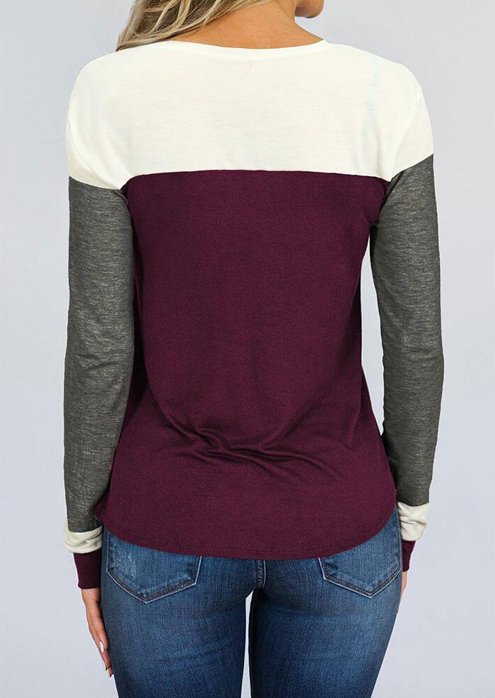 Color Block Long Sleeve T-Shirt Tee - Purple