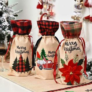 Merry Christmas Plaid Tree Gnome Floral Wine Bottle Bag