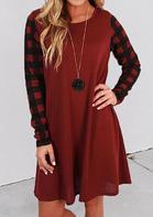 Buffalo Plaid Splicing O-Neck Mini Dress - Red