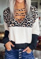 Leopard Color Block Criss-Cross Long Sleeve Blouse
