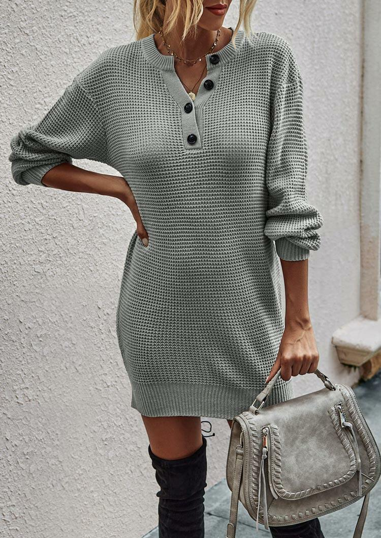 Button Long Sleeve Knitted Sweater Mini Dress - Gray