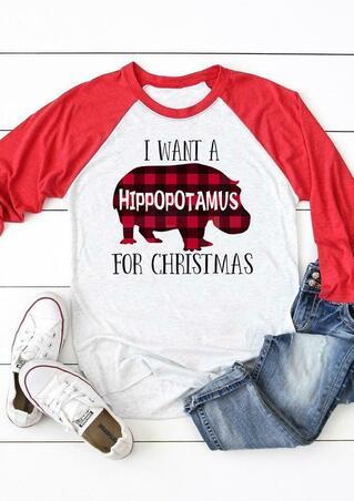 I Want A Plaid Hippopotamus For Christmas T-Shirt Tee - Red