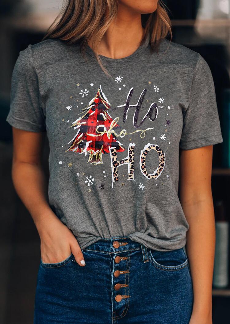 Christmas Tree Snowflake Plaid Leopard Ho Ho Ho T-Shirt Tee - Dark Grey