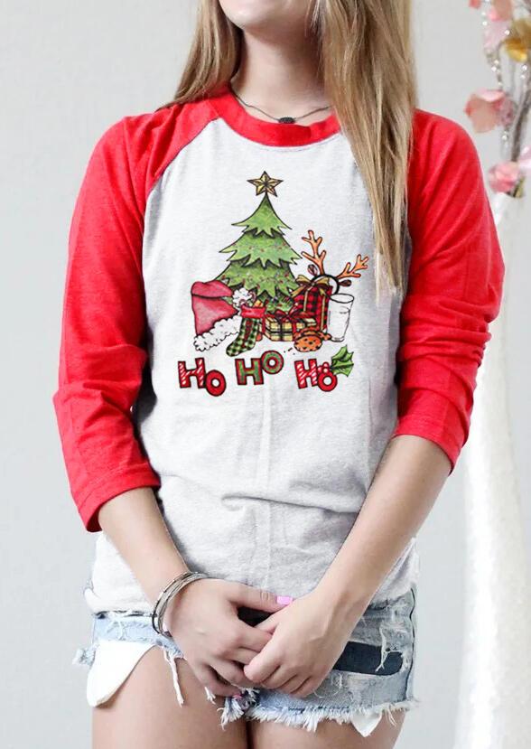 Christmas Tree Ho Ho Ho Baseball T-Shirt Tee - Red