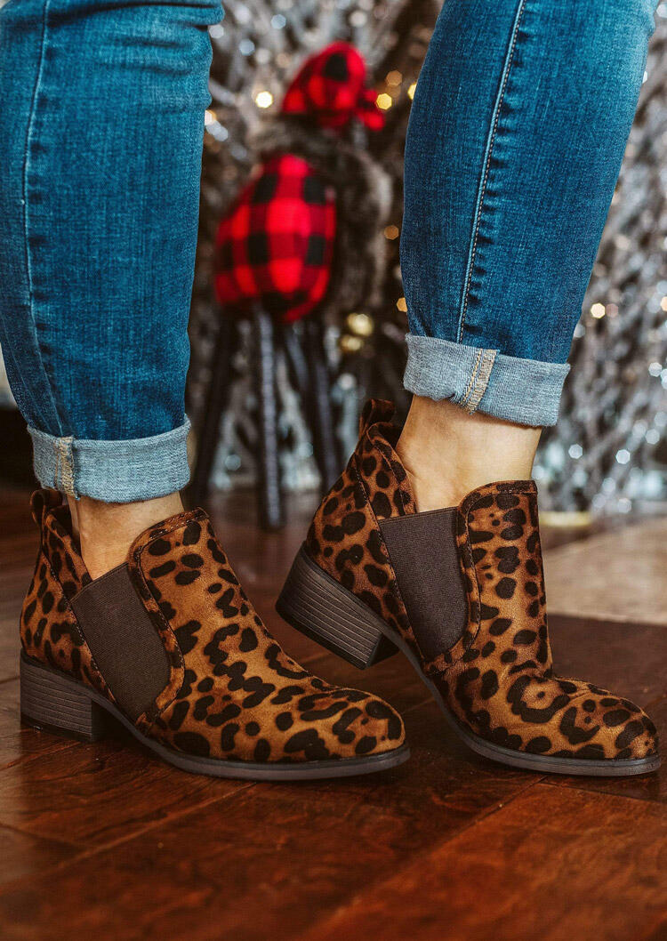 Leopard Splicing Chunky Heel Ankle Boots