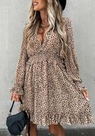 Leopard Ruffled V-Neck Elastic Waist Mini Dress