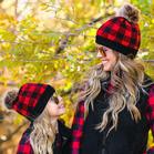 Buffalo Plaid Winter Warm Knitted Hairball Beanie Hat