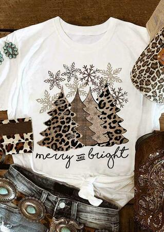 Leopard Christmas Tree Snowflake Merry And Bright T-Shirt Tee - White