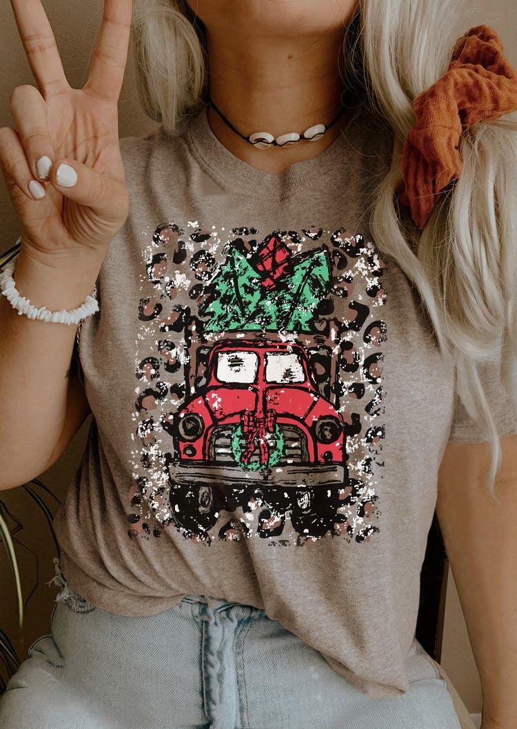 Leopard Holiday Car T-Shirt Tee - Light Coffee