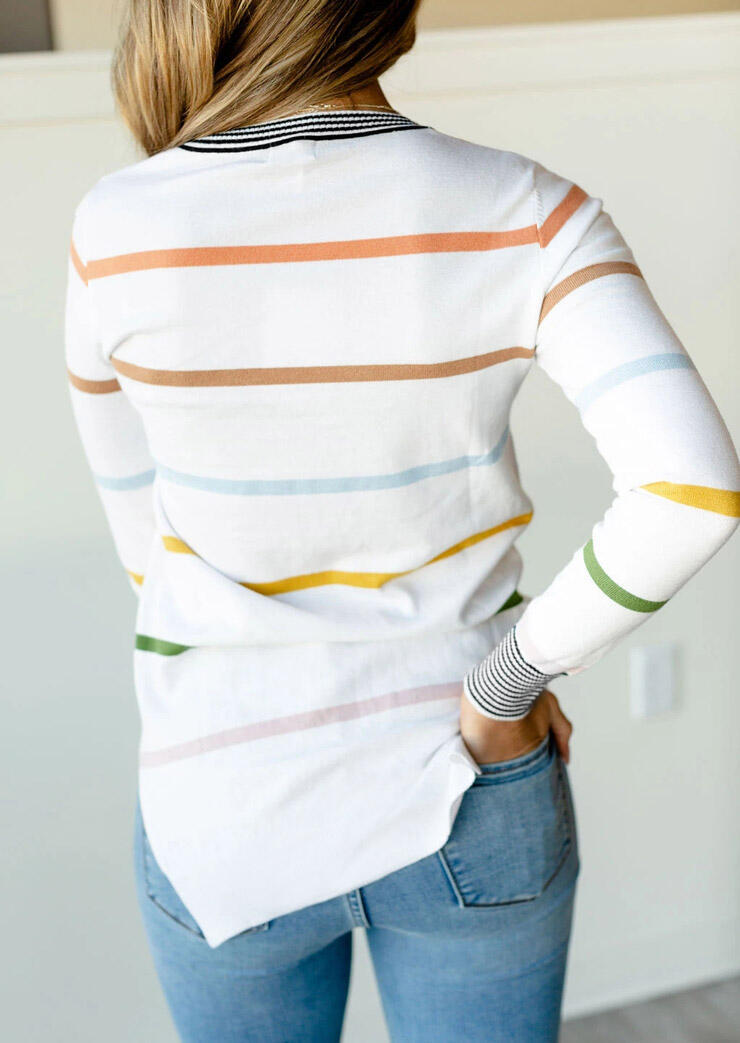 Colorful Striped Slit Long Sleeve Blouse - White