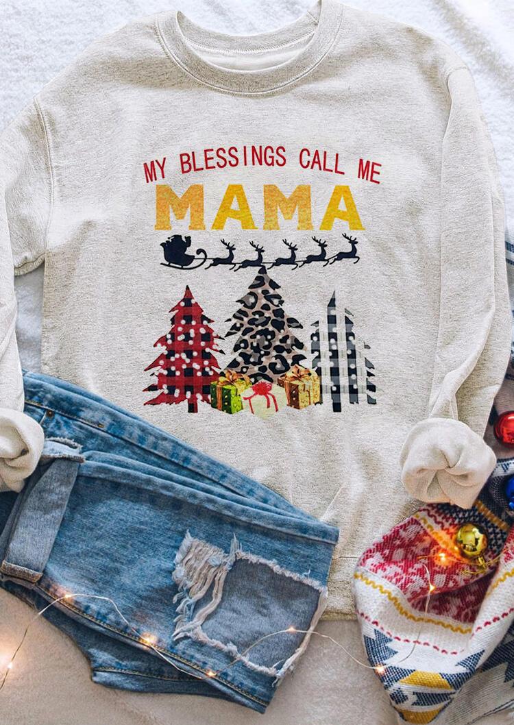 Christmas Leopard Plaid Tree My Blessings Call Me Mama Sweatshirt - Light Grey